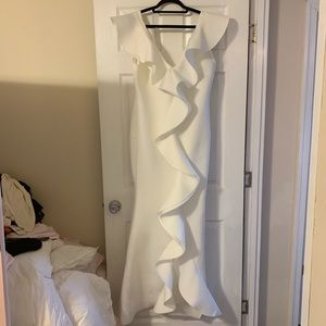 Women's white form fitting evening gown